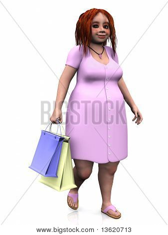 Cute Chubby Girl Holding Shopping Bags.