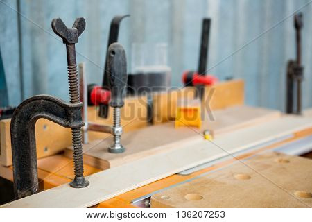 Zoom of carpenters tools on the workshop