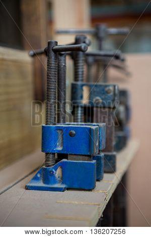 Zoom of blue carpenters tools