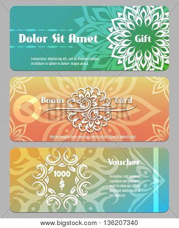 Thai calligraphic design gift card, bonus card and voucher templates. Voucher financial, gift coupon, banner card bonus. Vector illustration