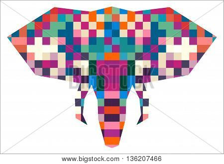 Animal head elephant triangular pixel icon , geometric trendy line design. Vector illustration ready for tattoo or poster. Animal Africa - elephant.