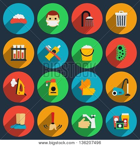 Hygiene and sanitation vector flat icons set. Hygiene clean icon, sanitation housework icon illustration