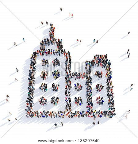 Large and creative group of people gathered together in the shape of a skyscraper image. 3D illustration, isolated against a white background.