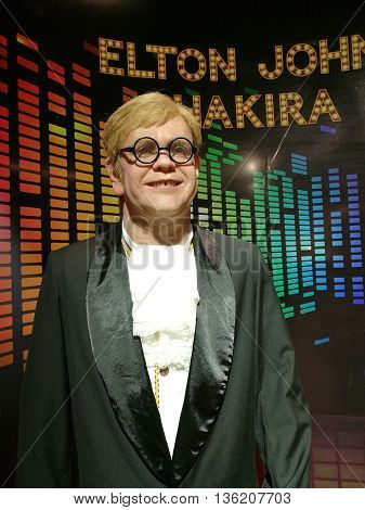 Da Nang, Vietnam - Jun 20, 2016: Elton John wax statue on display at Ba Na Hills mountain resort. Sir Elton Hercules John, CBE, is an English pianist, singer-songwriter and composer.