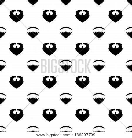 Beard Silhouette Seamless Pattern. Mustache Barber Background