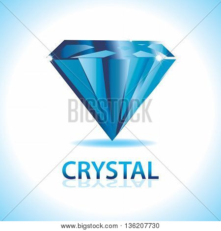 A blue crystal shiny logo. Precious and valuable.