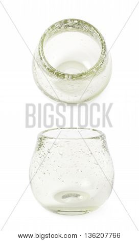Glass mate calabash vessel isolated over the white background, set of two different foreshortenings