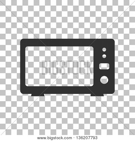 Microwave sign illustration. Dark gray icon on transparent background.