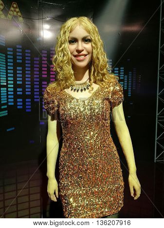 Da Nang, Vietnam - Jun 20, 2016: Shakira wax statue on display at Ba Na Hills mountain resort. Shakira Ripoll is a Colombian singer, songwriter, dancer, record producer, choreographer, and model.