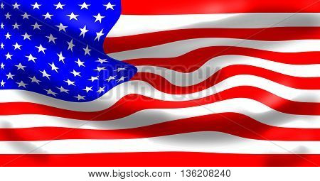 American flag, digitally created by computer software