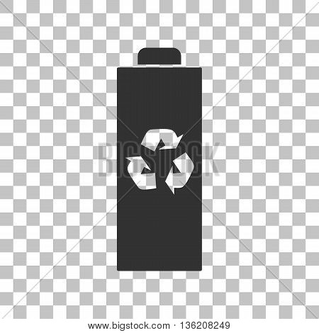 Battery recycle sign illustration. Dark gray icon on transparent background.
