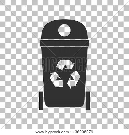 Trashcan sign illustration. Dark gray icon on transparent background.