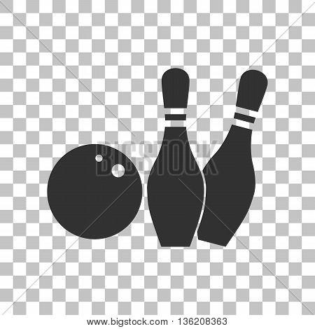 Bowling sign illustration. Dark gray icon on transparent background.
