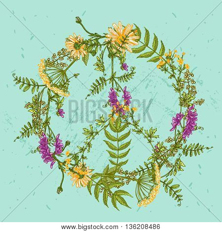 vector peace symbol made from flowers on blue background