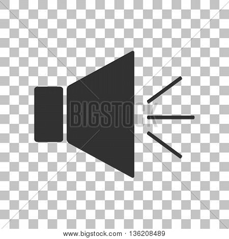 Sound sign illustration with mute mark. Dark gray icon on transparent background.