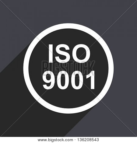 Flat design gray web iso 9001 vector icon