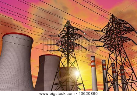 Power plant in sunset