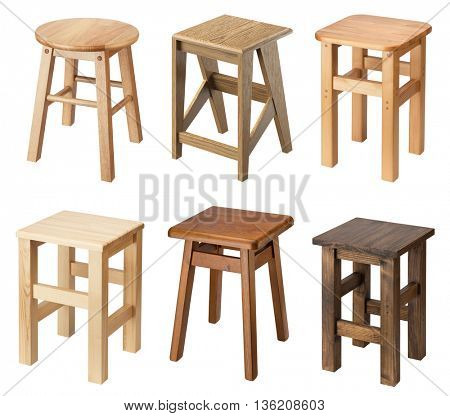 Wooden stools isolated on white background.