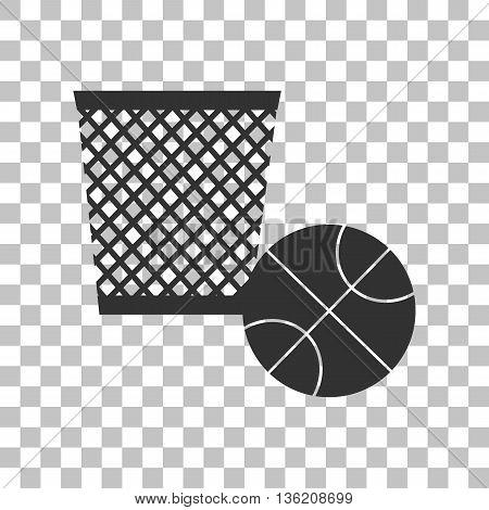 Trash sign illustration. Dark gray icon on transparent background.