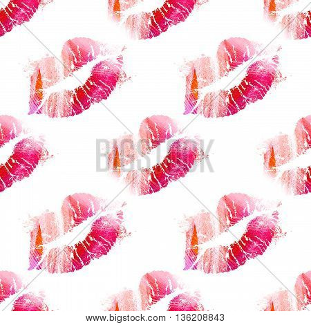 International kissing day background. Seamless pattern with kisses. Illustration with glamorous sensual red lips. Sexy kissing woman lips on white background.