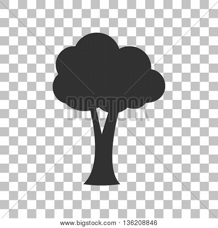 Tree sign illustration. Dark gray icon on transparent background.