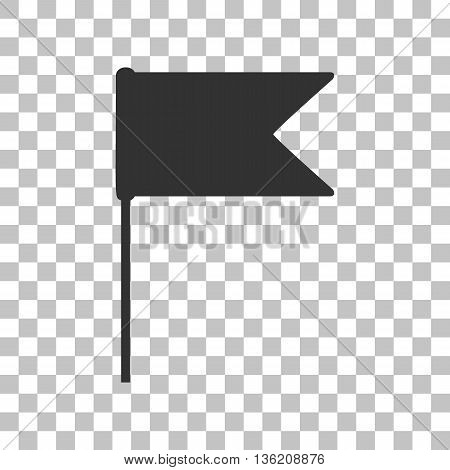 Flag sign illustration. Dark gray icon on transparent background.