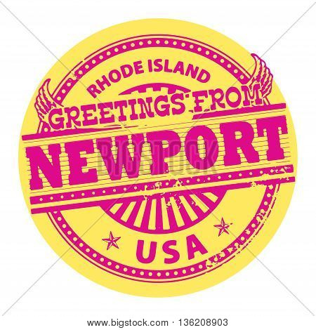 Grunge color stamp with text Greetings from Newport, Rhode Island, vector illustration
