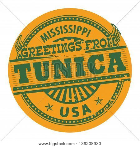 Grunge color stamp with text Greetings from Tunica, Mississippi, vector illustration