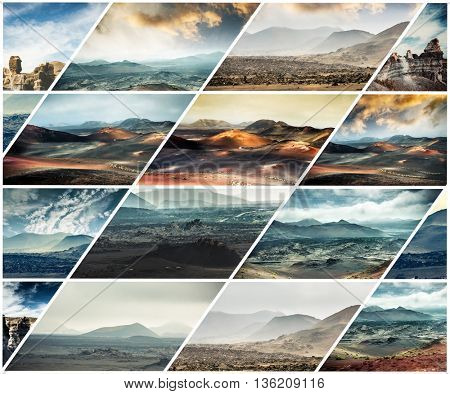 collage of volcanic mountain scenery in Lanzarote, Canary islands, Spain
