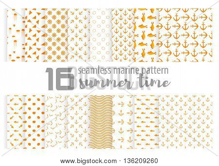 Big cute light collection vector monochrome seamless pattern. For background wrappers wallpaper paper and printing on fabrics. jellyfish sea anchor shark and Seagull