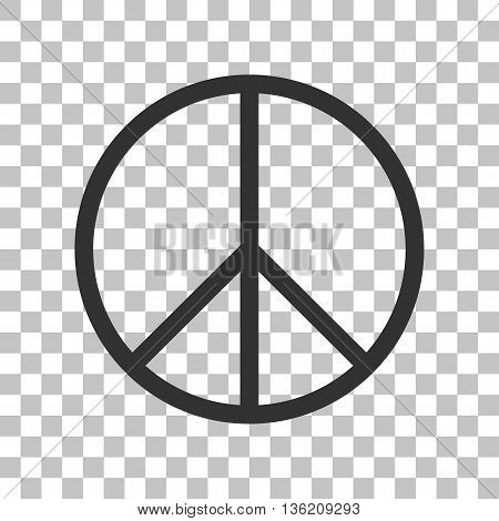 Peace sign illustration. Dark gray icon on transparent background.