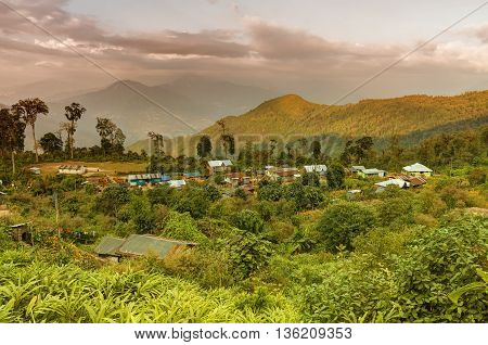 Beautiful view of Silerygaon Village with Kanchenjunga mountain range at the background morning light at Sikkim India