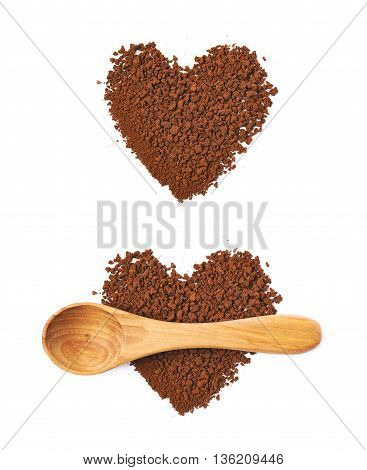 Heart shape made of instant coffee grains with the wooden spoon over it, composition isolated over the white background, set of two different foreshortenings