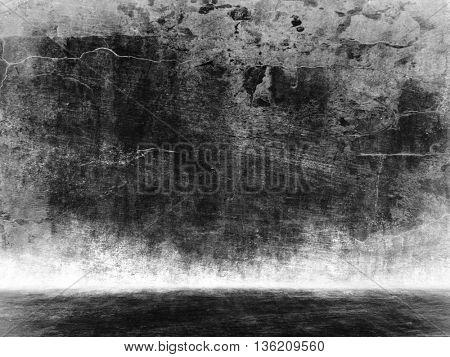 Abandon room.Black room.Dark interior.Black studio template. Old concrete background for montage or product presentation. 3D illustration