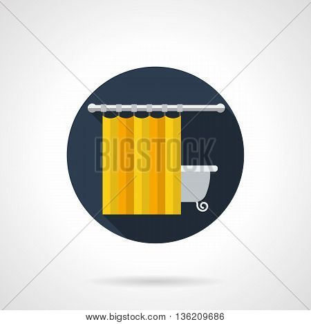 Hanging yellow curtain and bath. Bathroom functional decor elements. Interior design for home. Round flat color style vector icon.