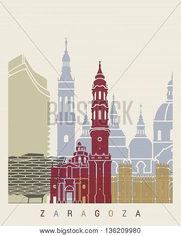 Zaragoza Skyline Poster