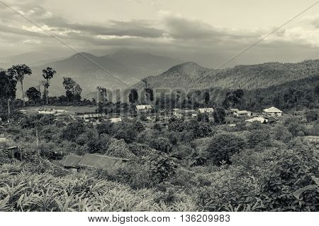 Beautiful view of Silerygaon Village with Kanchenjunga mountain range at the background morning light at Sikkim India.