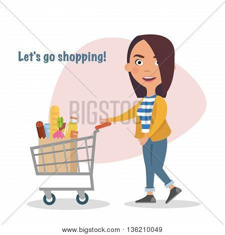 Happy Girl and shopping cart full of eating, goods, food, beverage, beauty. Buyer.Sale. Vector illustration of a flat design
