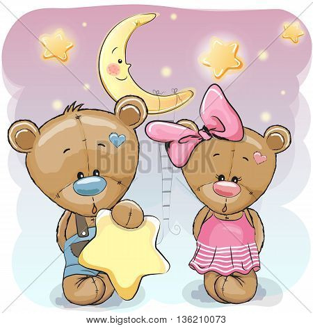 Cute cartoon Teddy boy gives a Teddy girl a star