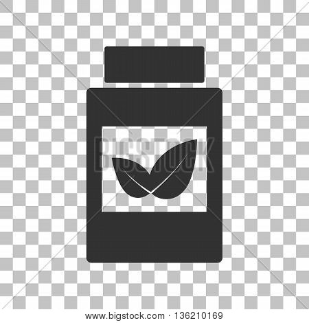 Supplements container sign. Dark gray icon on transparent background.