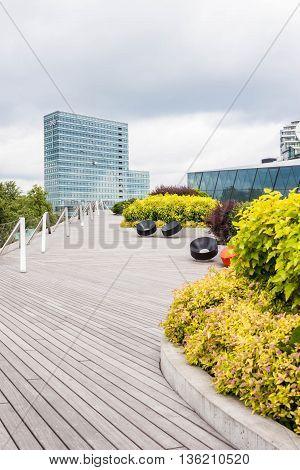 June 22 2016 - Vilnius Lithuania: Swedbank Terrace - a modern terrace designed as a part of the office complex near Neris river.
