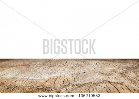 Wood. Wooden table. Old wood table for montage and product presentation. Wood plank isolated on white. 3D illustration