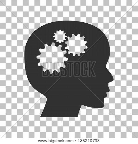 Thinking head sign. Dark gray icon on transparent background.