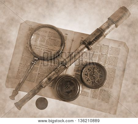Antique marine telescope magnifying glass compass and paper - Sepia toned image in retro style