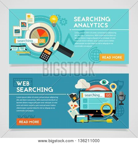 Searching Analytics concept banner. Square composition, vector illustration