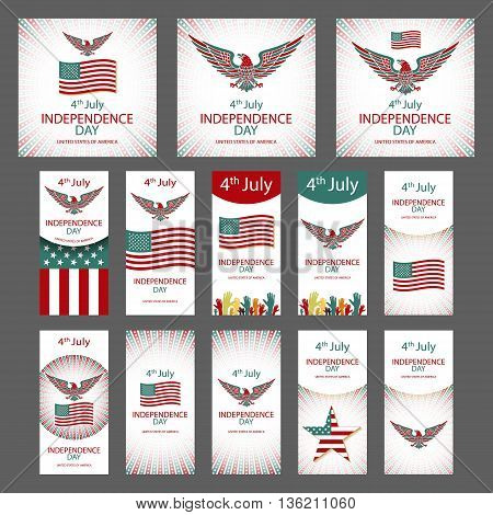 4Th July Independence Day And For Presidential Election Huge Vector Object Set Isolated On White. Ve
