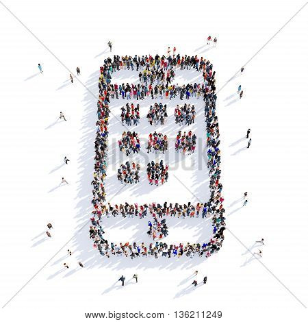 Large and creative group of people gathered together in the shape of a smartphone image. 3D illustration, isolated against a white background.