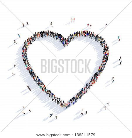 Large and creative group of people gathered together in the shape of heart, love, image. 3D illustration, isolated against a white background.