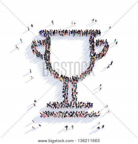 Large and creative group of people gathered together in the shape of an award, pictures. 3D illustration, isolated against a white background.