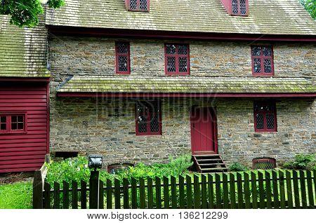 Dilworthtown,  Pennsylvania:  Early colonial  fieldstone 1704 John Brinton House built in the English medieval style